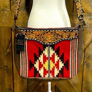 American Darling Red And White Blanket Bag NWT